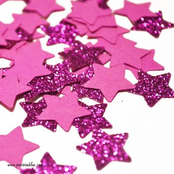 Confettis paillettes étoiles rose intense