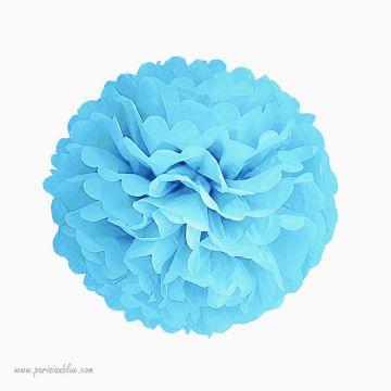 Rosace papier de soie bleu aqua