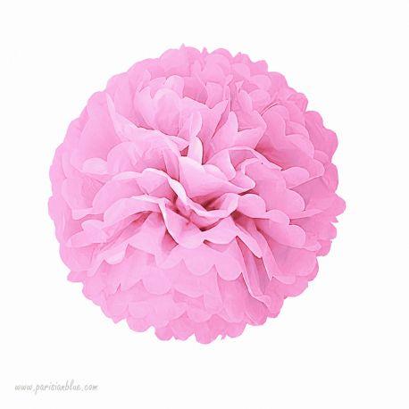 Rosace Pompon Fleur Papier de Soie Rose Poudre