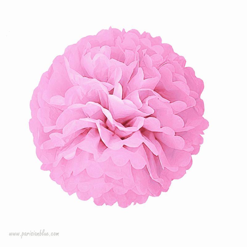 rosace pompon fleur papier de soie rose chambre b b fille. Black Bedroom Furniture Sets. Home Design Ideas