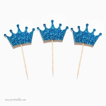 Pics à cupcakes couronnes bleues