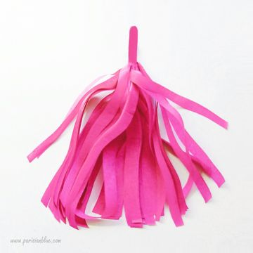 Pompon Franges Tassel -Rose intense- Papier Soie pour Guirlande DIY