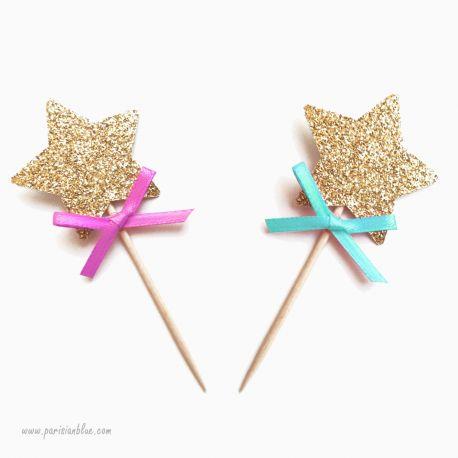 cupcake toppers etoiles paillettes or et noeud satin decoration gateau anniversaire enfant