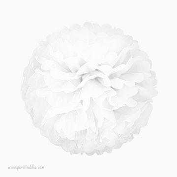 Rosace Pompon Fleur Papier de Soie Blanc