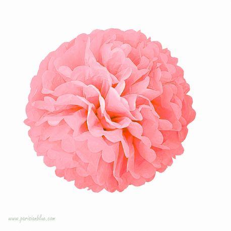 pompon papier de soie rosace papier de soie tassel diy aniversaire enfant rosace papier de soie corail anniversaire princesse