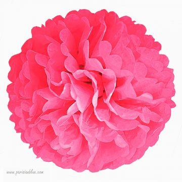 Rosace Pompon Fleur Papier de Soie Rose Intense