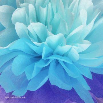 Rosace Pompon Papier de Soie Multi Bleu