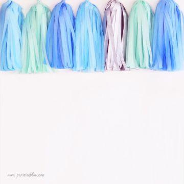 Pompon Franges Tassel -Argent - Papier Soie pour Guirlande DIY