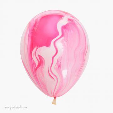 ballon marble ballon tye and die ballon rose marbré ballon imprimé rose anniversaire enfant fille luxe paris