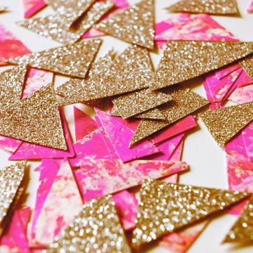 Confettis marbrés rose et paillettes or