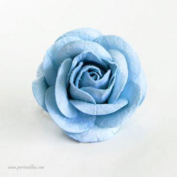 Barrette cheveux rose fleur bleu givré