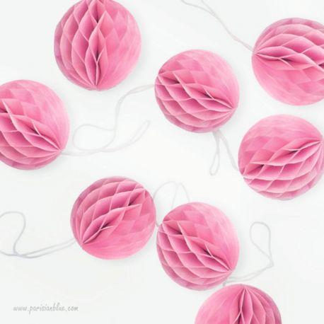 Lot de 8 Boules nid d'abeille alvéolée rose