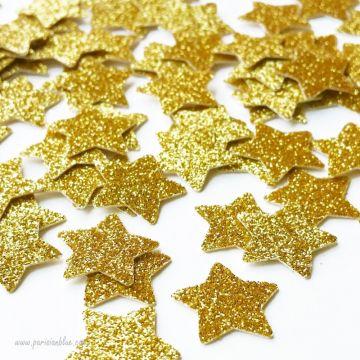 Confettis étoiles à paillettes or