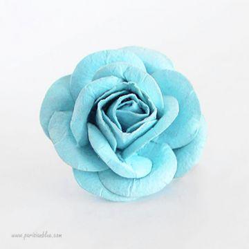 Barrette cheveux rose fleur bleu aqua