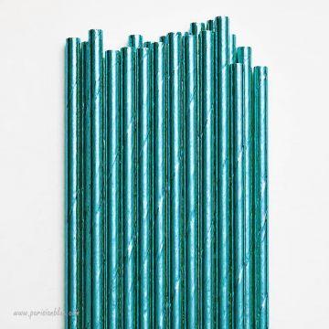 Lot de 24 Pailles Mylar Bleu Turquoise