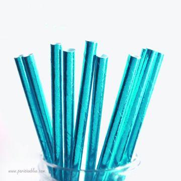 pailles papier retro mylar pailles papier aluminium aqua turquoise bleu anniversaire enfant reine des neiges