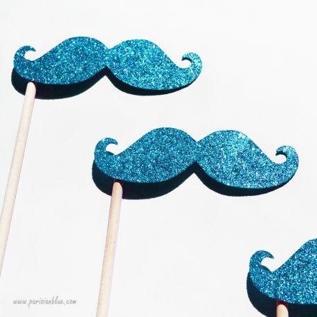 Lot de 3 Photobooths Moustaches à paillettes