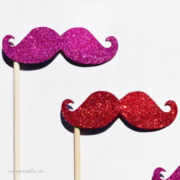 Lot de 3 Photobooths Moustaches à paillettes