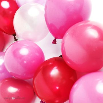 Maxi lot de 18 ballons nacre dégradé de rose et rouge