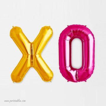 Ballon Lettre Mylar XO ALuminium Or et Rose
