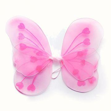 Ailes fée Papillon Voile et Paillettes Rose