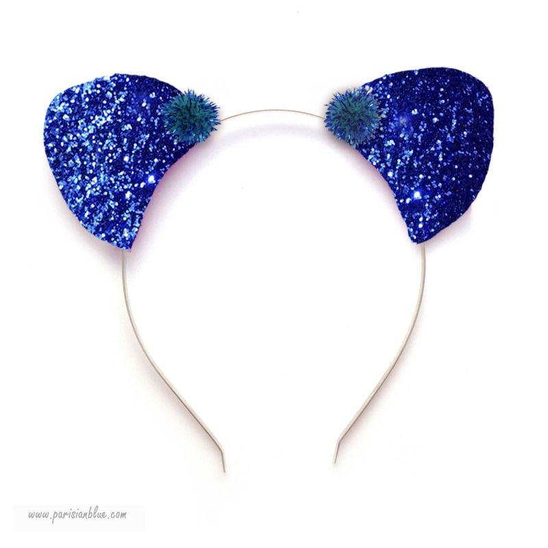 Serre t te oreilles de chat paillettes bleu - Oreille de chat serre tete ...