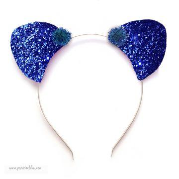 Serre tête petites oreilles à paillettes bleu intense
