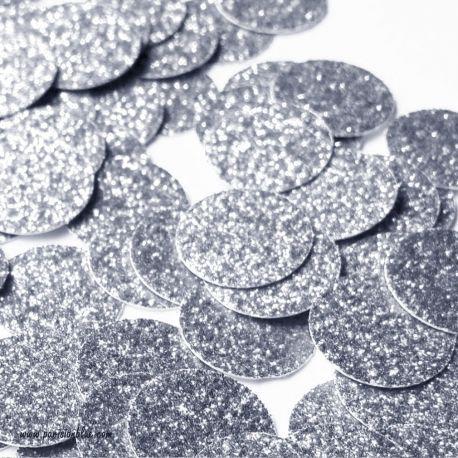 confetti rond paillettes argent fete anniversaire princesse theme elsa reine des neiges