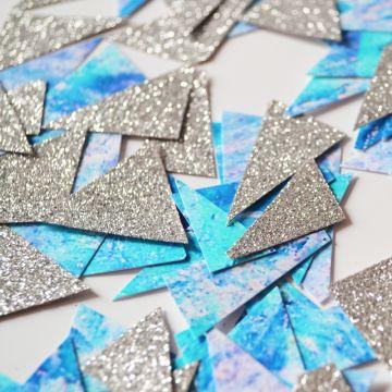 Confettis marbrés bleu et paillettes argent