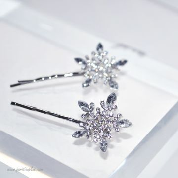 barrette flocons de neige strass