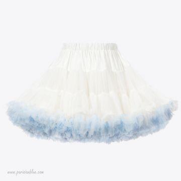 Margot - Tutu de Fête Sur Mesure Blanc et Bleu Glacier