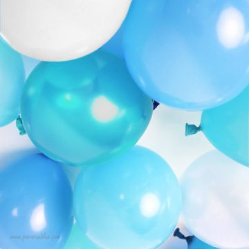 Maxi lot de 18 ballons nacre dégradé de bleus