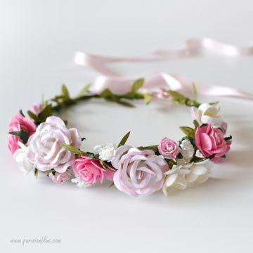 Alicia- Couronne de Roses et Fleurs de Cerisiers