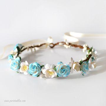 Anna - Couronne de Roses et Fleurs de Cerisiers