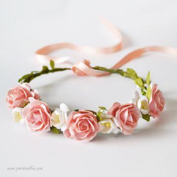 Couronne de Roses et de Fleurs de Cerisier enfant luxe paris céremonie robe céremonie cortege bapteme anniversaire enfant