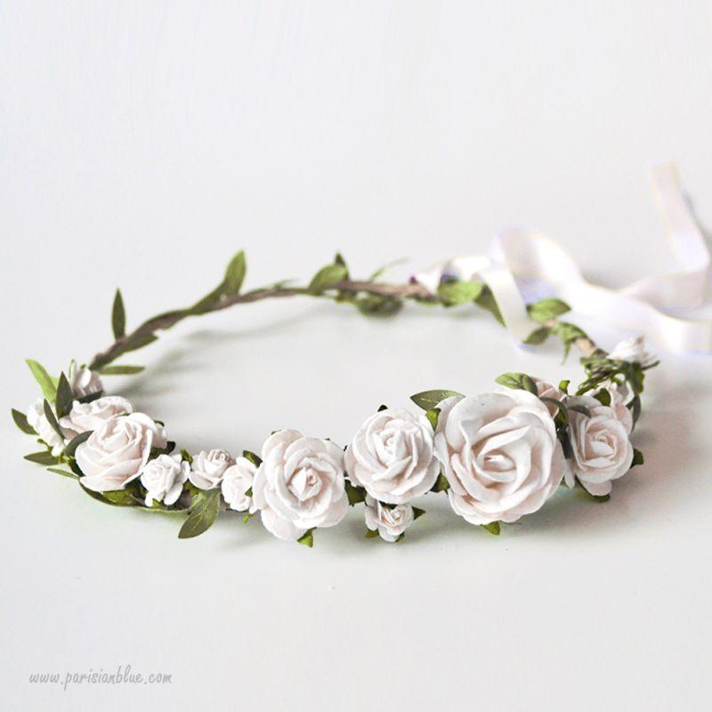 Couronne de fleurs blanches mariage - Fleuriste couronne de fleurs ...