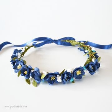 couronne fleur bleu fleurs cerisier enfant luxe paris céremonie cortege bapteme anniversaire enfant paris luxe