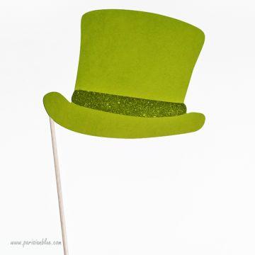 Photobooth Accessoire Haut de Forme vert