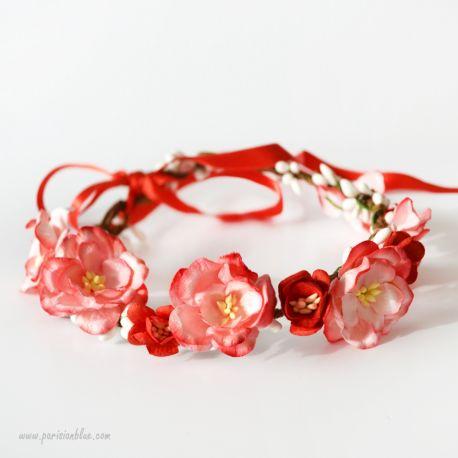 Camille- Couronne de Magnolias et fleurs de cerisier
