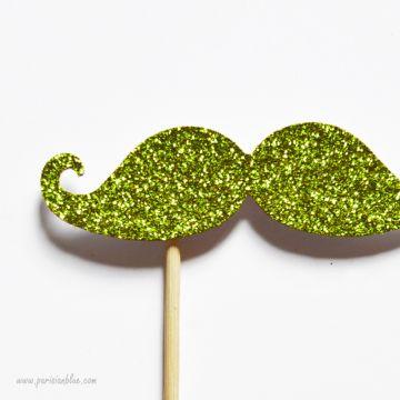 Photobooth Accessoire Moustache Paillettes Vert