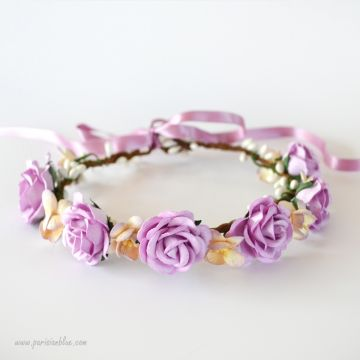 Emilie- Couronne de Roses et fleurs de cerisier