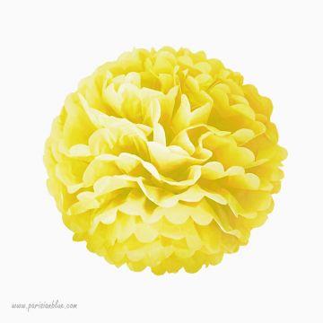 Rosace Pompon Fleur Papier de Soie Jaune