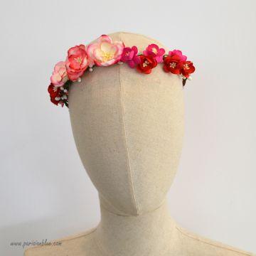Ines- Couronne de Magnolias et fleurs de cerisier