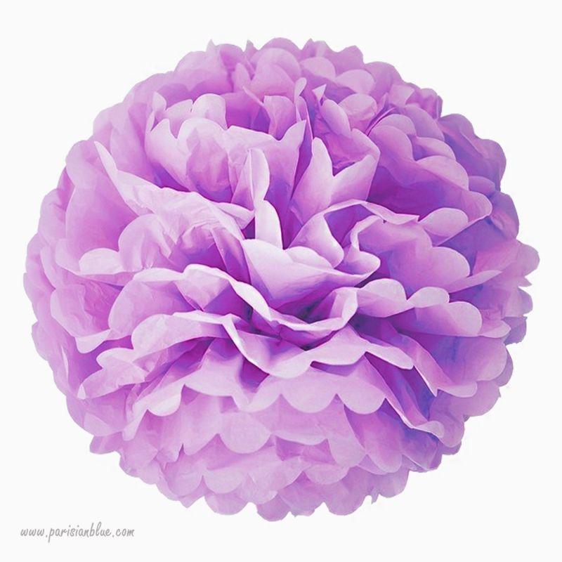 rosace pompon papier de soie violet. Black Bedroom Furniture Sets. Home Design Ideas