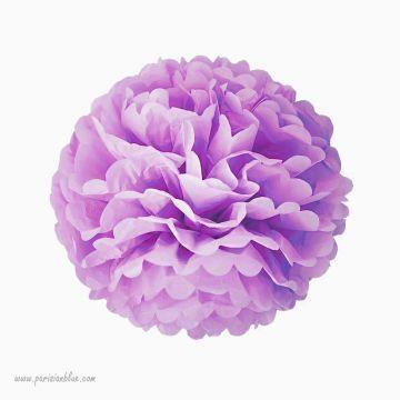 Rosace Pompon Fleur Papier de Soie Lilas