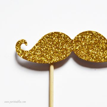 Photobooth Accessoire Moustache Paillettes Or