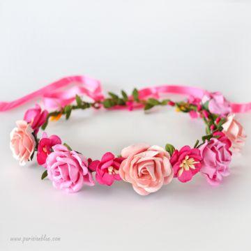 Mathilde - Couronne de Roses et fleurs de Cerisiers