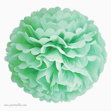 Rosace Pompon Fleur Papier de Soie Menthe