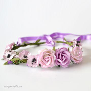 Eloise- Couronne de Coquelicots et Roses