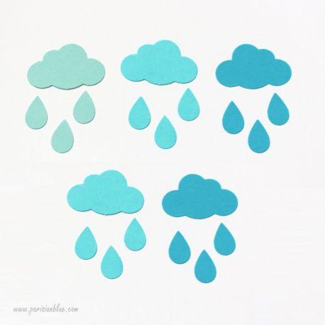 confettis nuages bleu multicolore